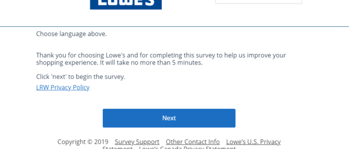 Lowes Survey – Win $300 in Prizes @ Lowes.com/Survey